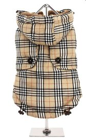 Brown Checked Tartan Quilted Hondenjas