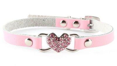 Leren halsband Pink Heart
