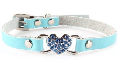Leren halsband Blue Heart