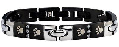 Black/Silver Paw Armband met zirkonia