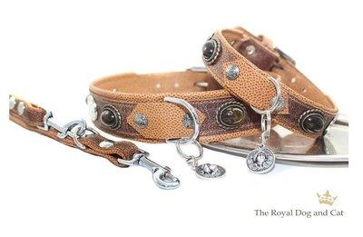 Cesar Brown/Cognac leren hondenhalsband