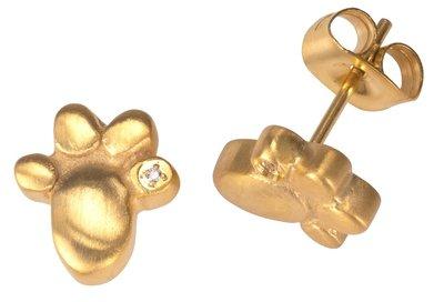 Oorbellen Paw met 1 Zirkonia goudkleur