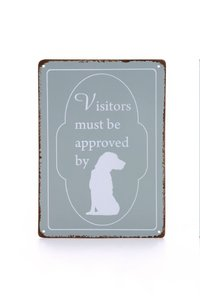 Designed by Lotte tekstbord hond grijs 14 x 20 cm