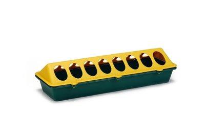 Plastic kuikenvoerbak geel / groen 30 cm