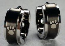 Oorbellen Black/Silver Paw
